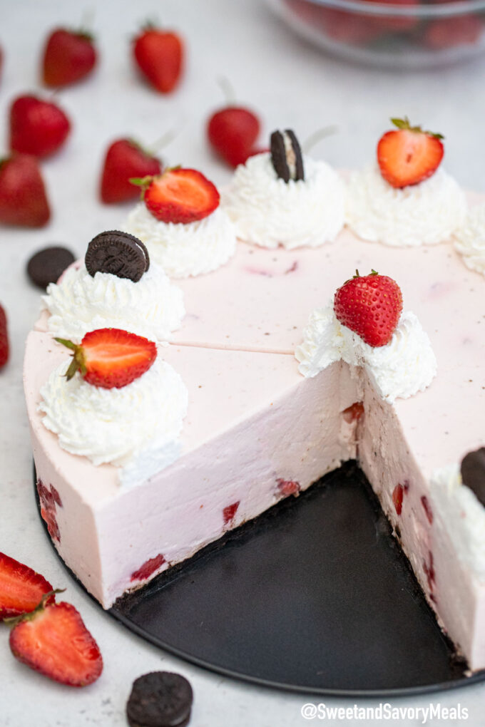 Image of No Bake Strawberry Cheesecake inside.