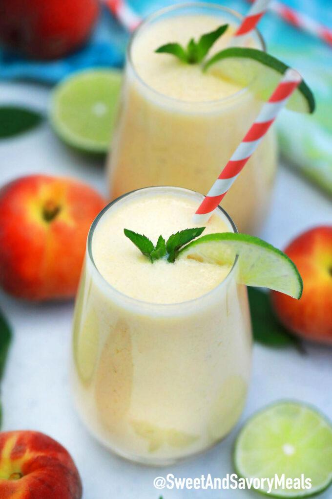 Image of peach smoothie recipe.