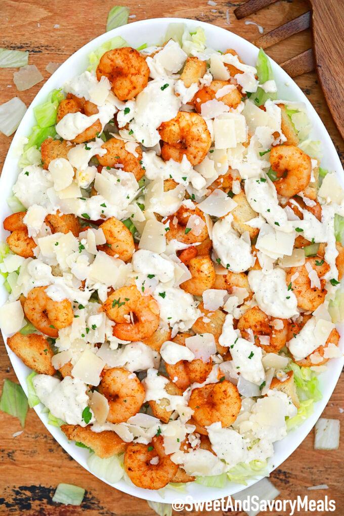 Image of homemade shrimp Caesar salad recipe.
