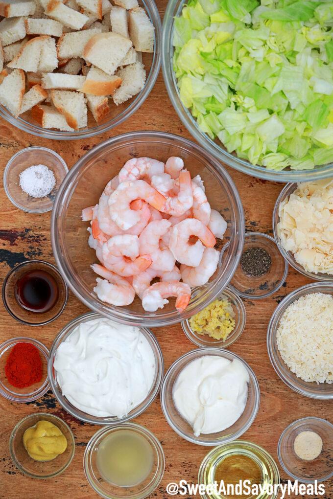 Image of shrimp Caesar salad ingredients.
