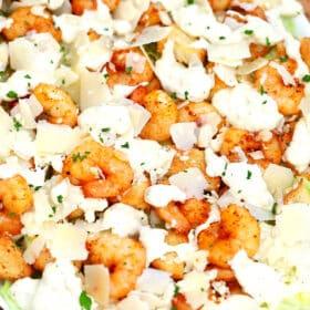 Photo of shrimp Caesar salad recipe.