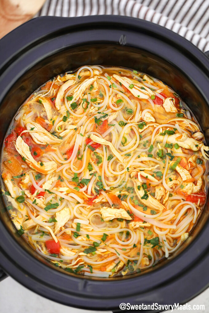 Picture of slow cooker asian chicken noodle soup recipe.