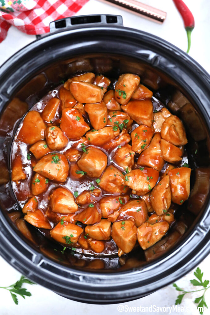Picture of slow cooker bourbon chicken.