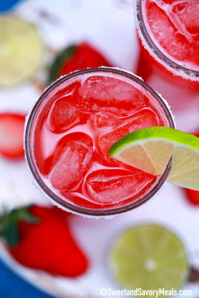 Image of homemade strawberry margarita.