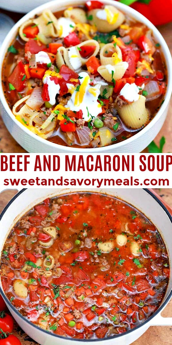 Bowl of Beef and Macaroni Homemade Soup pin