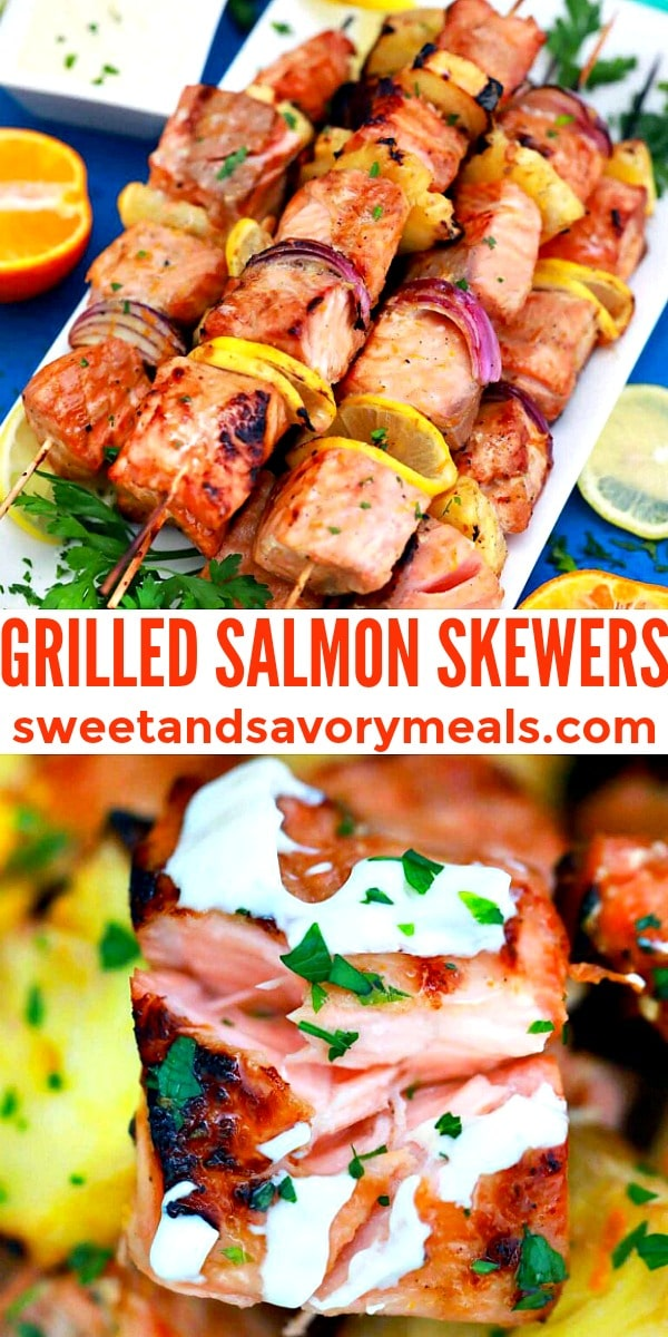 Grilled salmon skewers pin