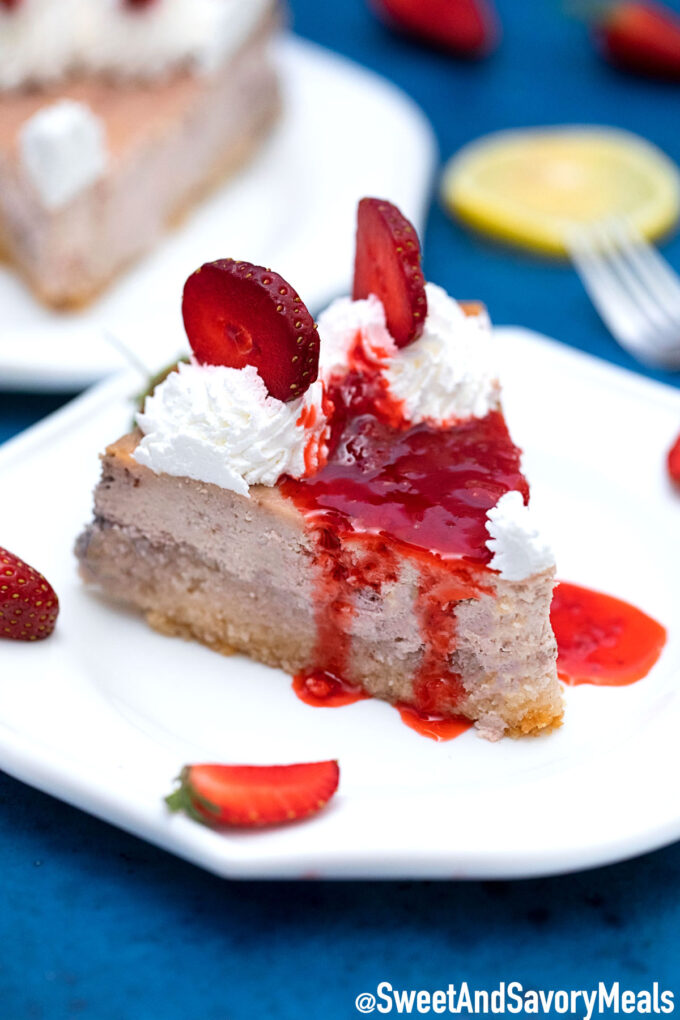 Photo of Keto strawberry cheesecake slice.