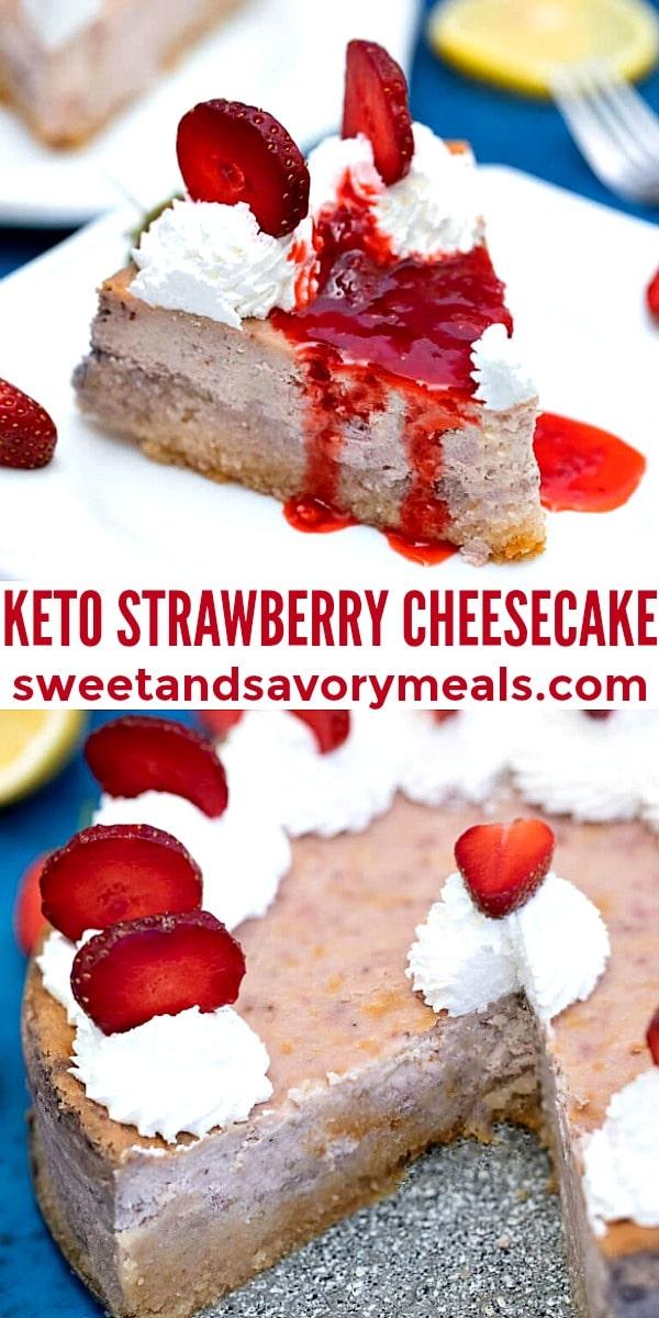 Easy Keto Strawberry Cheesecake pin