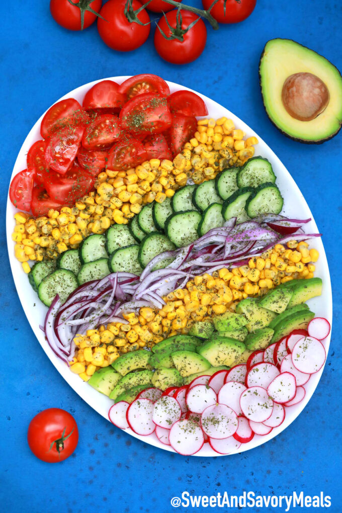 Photo of avocado corn salad.