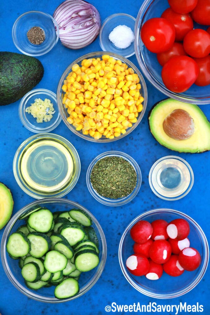 Image of avocado corn salad ingredients.