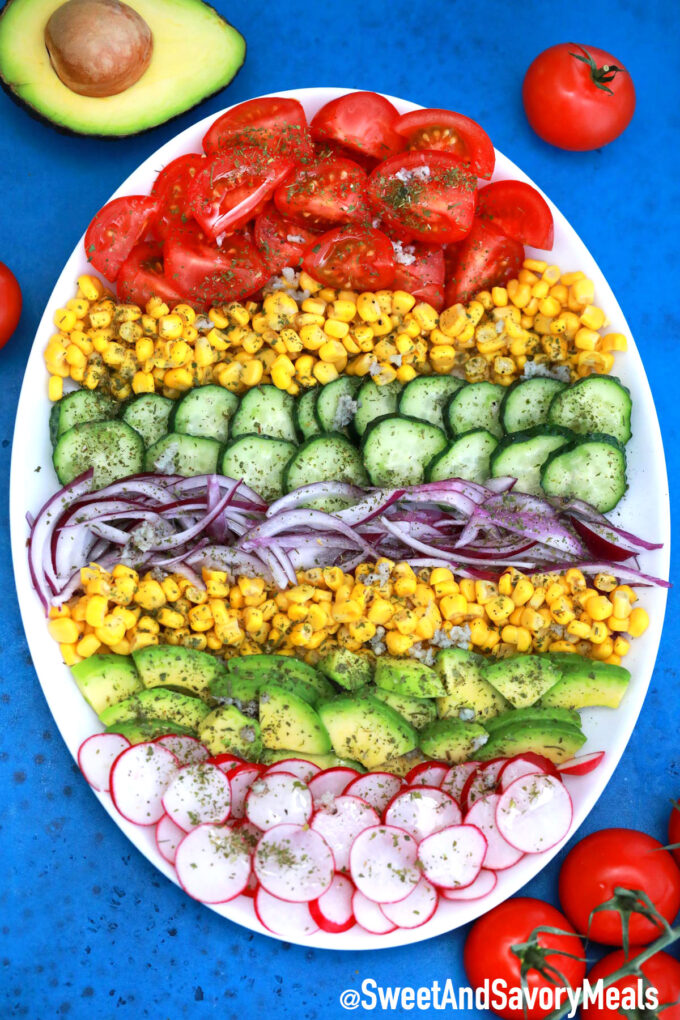 Image of avocado corn salad recipe.