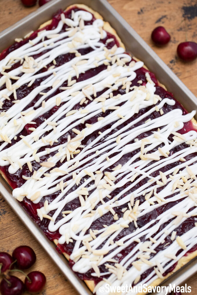 Cherry bars pan with glaze.