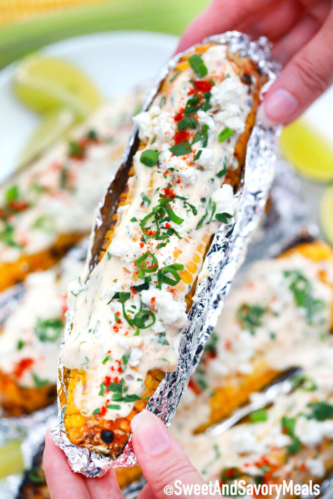 Mexican street corn with cotija cheese.