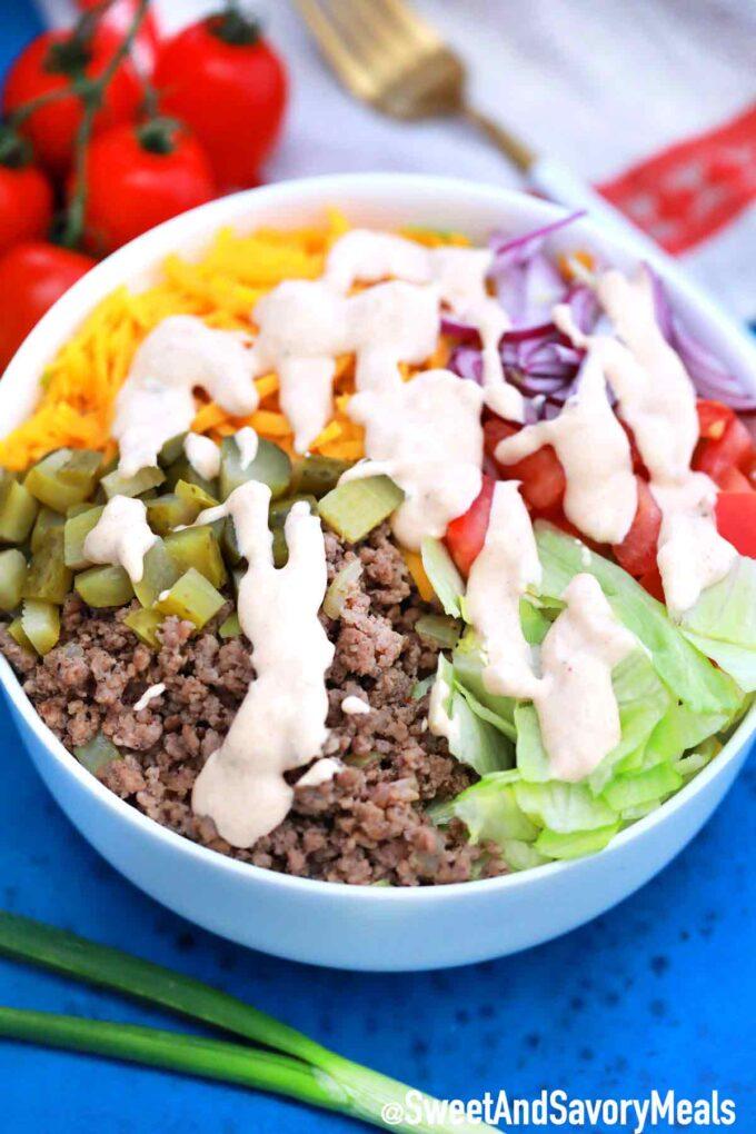 Big Mac Salad with Big Mac Sauce.