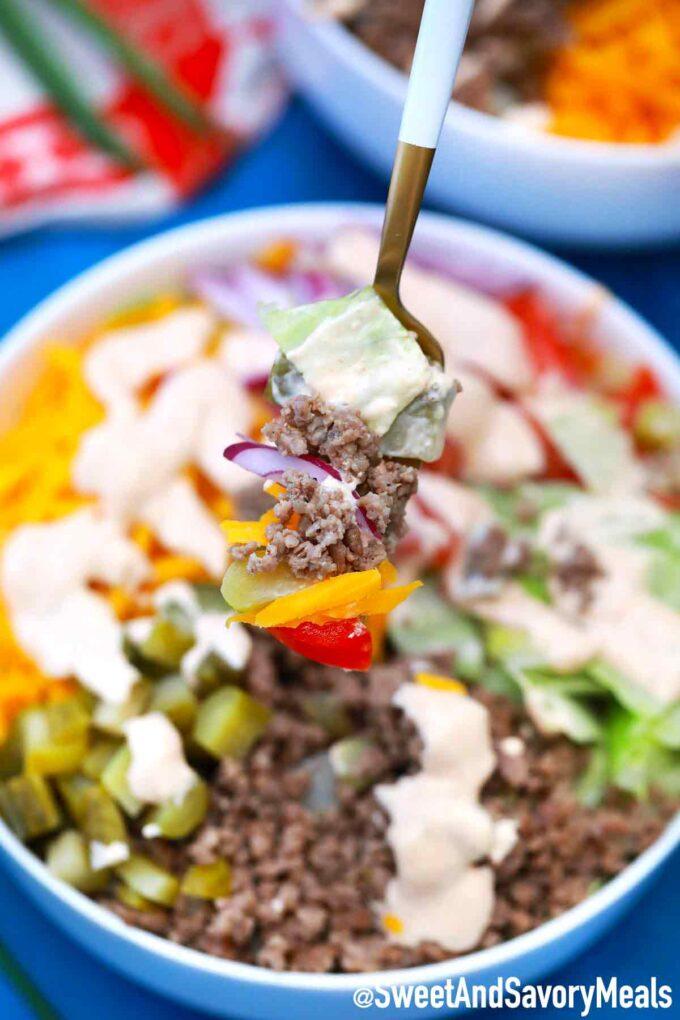 Big Mac Salad bite on a fork.