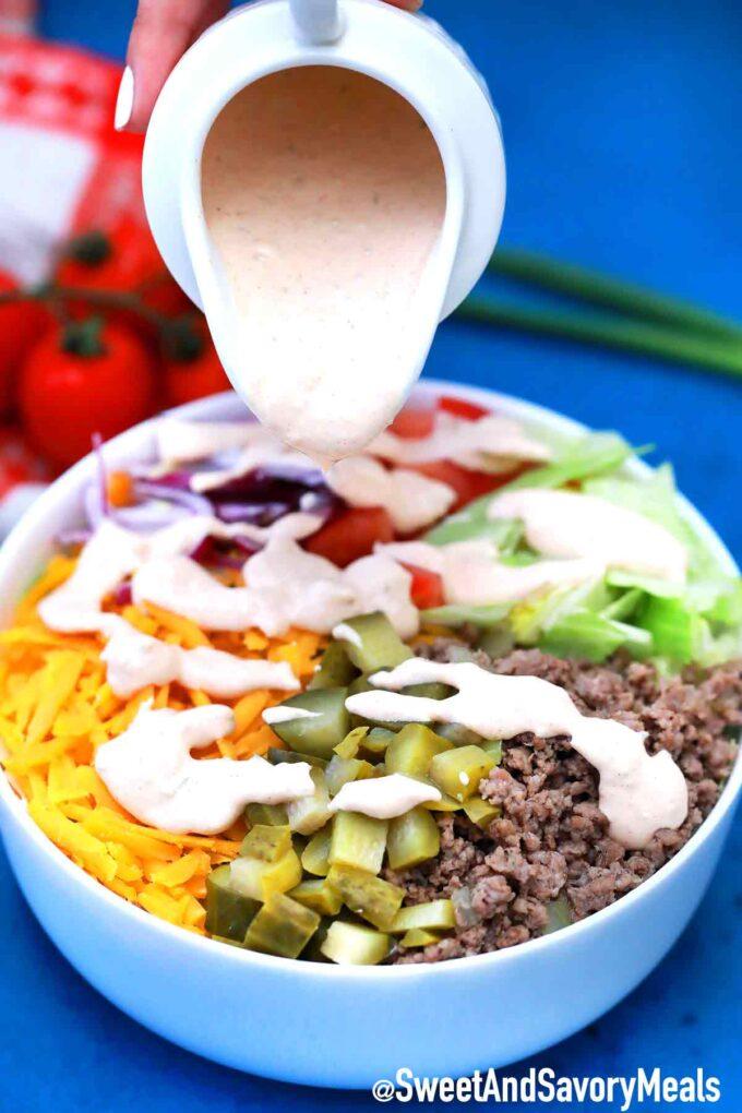 Big Mac Sauce drizzled on salad.