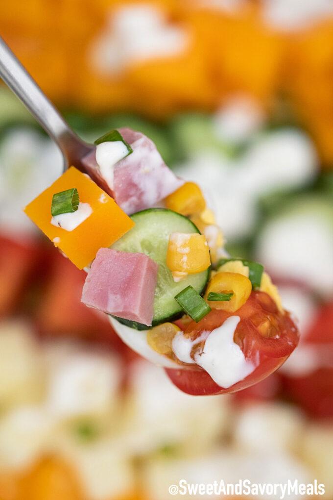 Photo of chef salad bite.