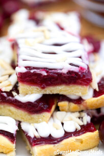 Cherry Bars cut into squares.
