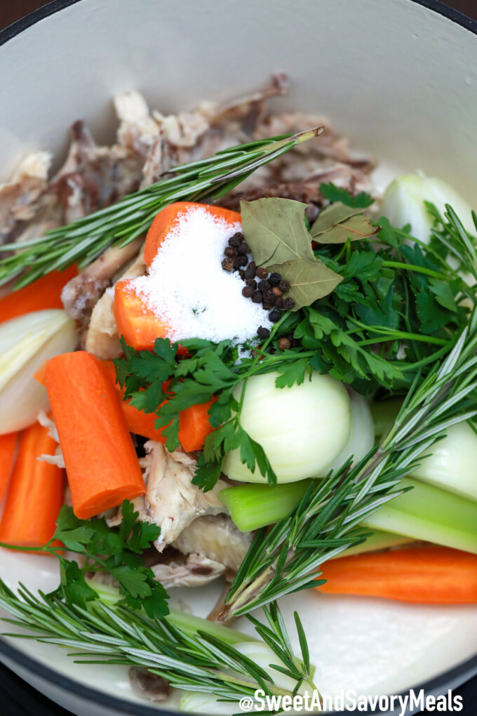 Photo of chicken stock herbs.