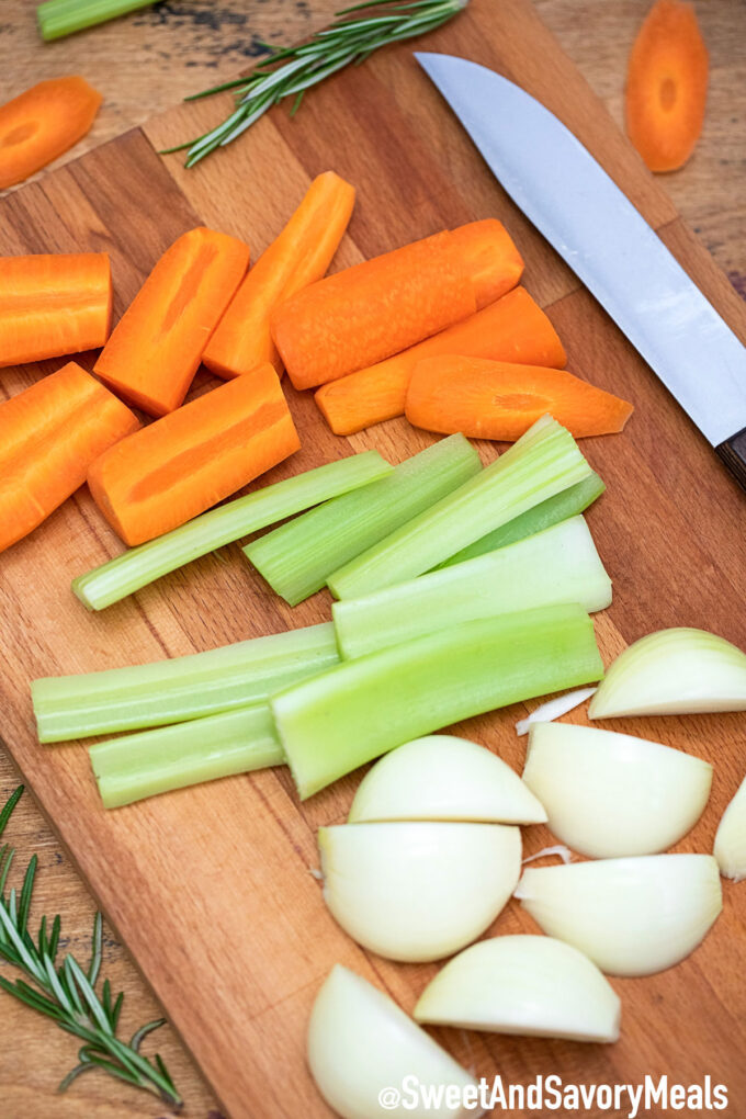 Photo of chopped carrot celery and onion.