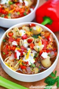 Bowl of Beef and Macaroni soup.