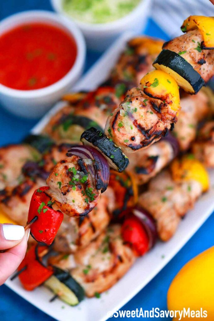 Grilled chicken skewers with veggies.
