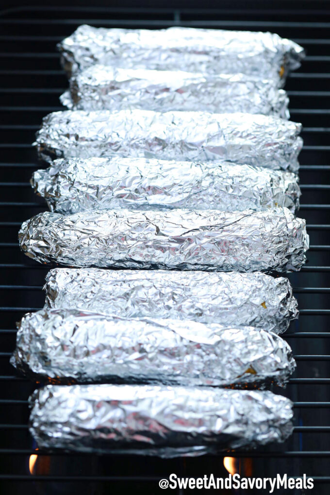 Grilled corn in foil.