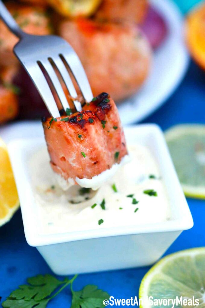 Salmon kebab piece in white sauce.