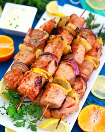 Grilled salmon skewers.