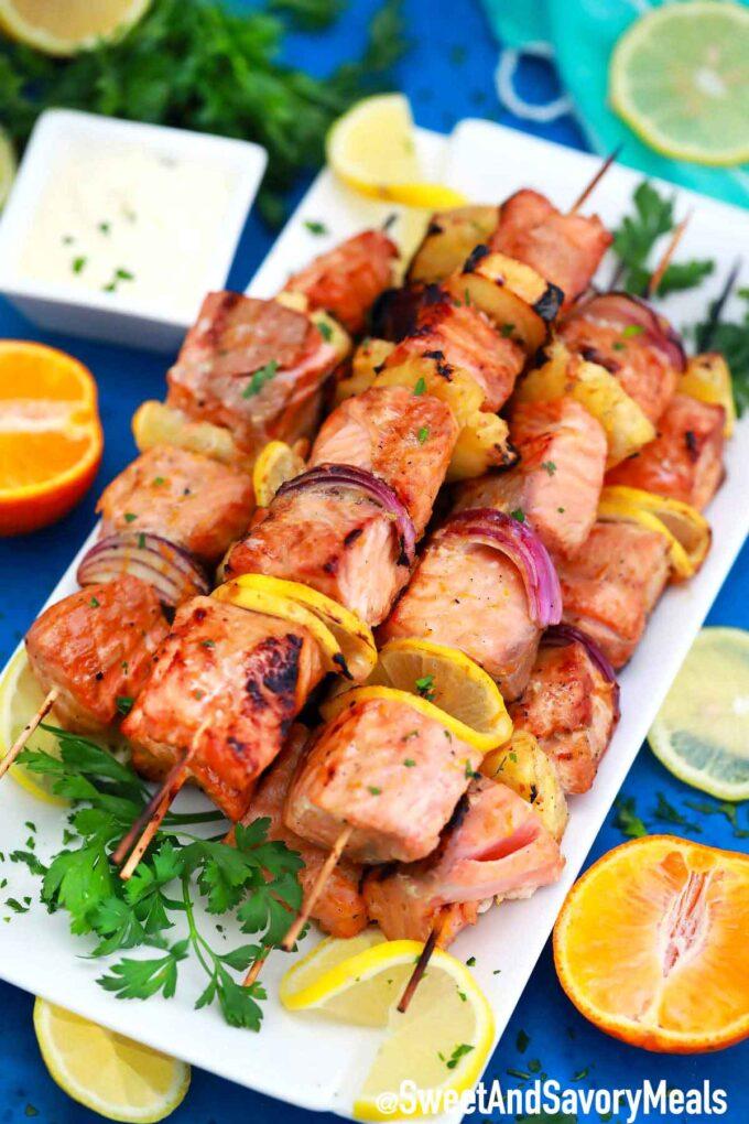 Grilled salmon skewers.