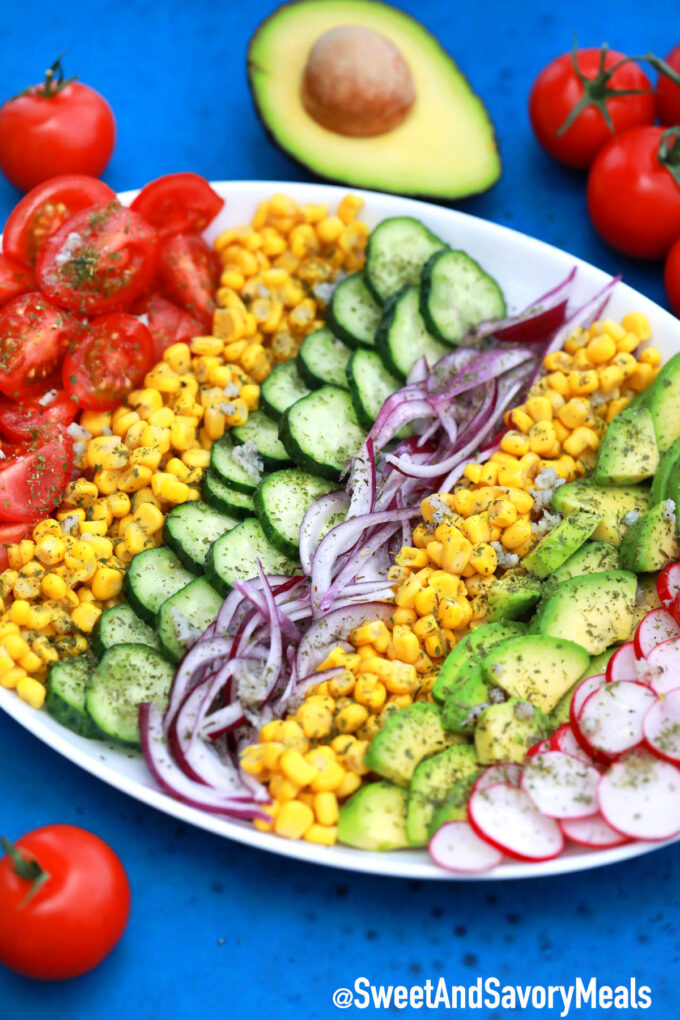 Photo of healthy avocado corn salad.
