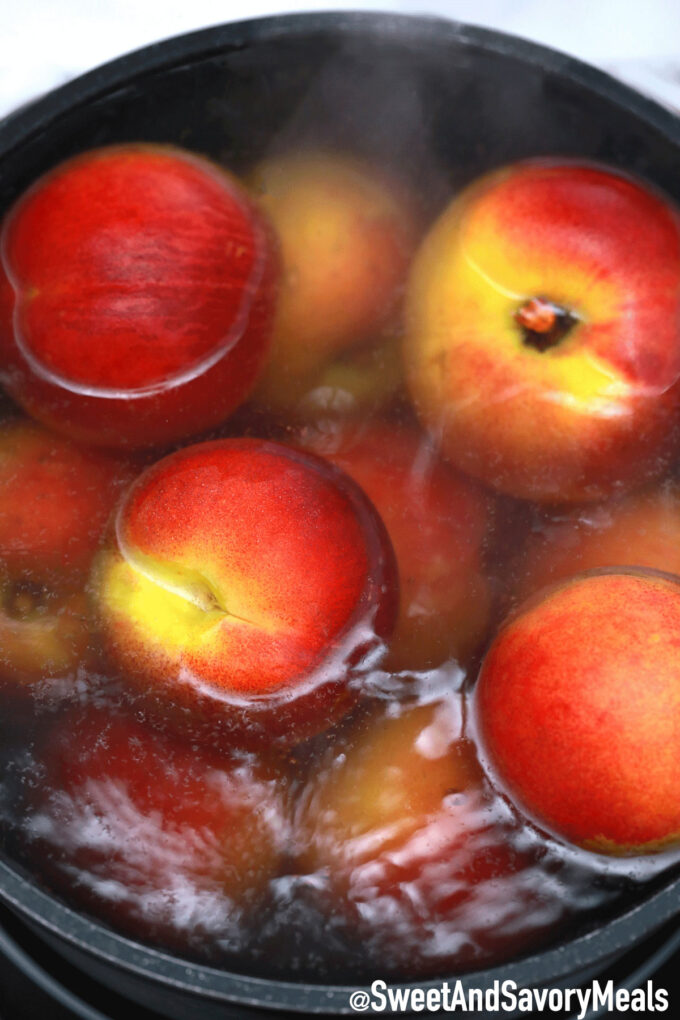 Image of boiling peaches.