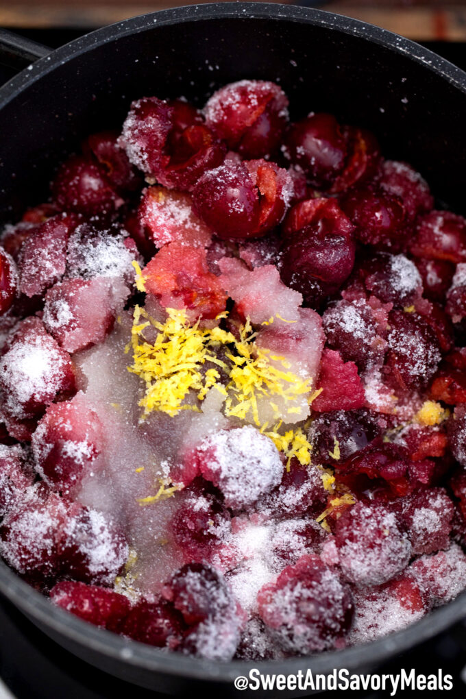 Fresh cherries lemon and sugar.