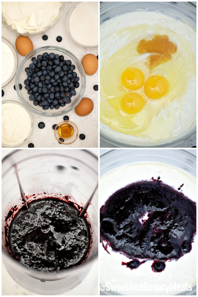 Image of how to make keto blueberry cheesecake filling.