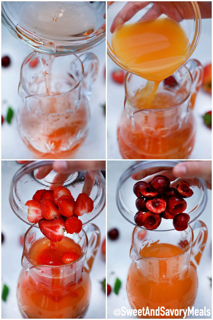 Picture of how to make peach sangria.
