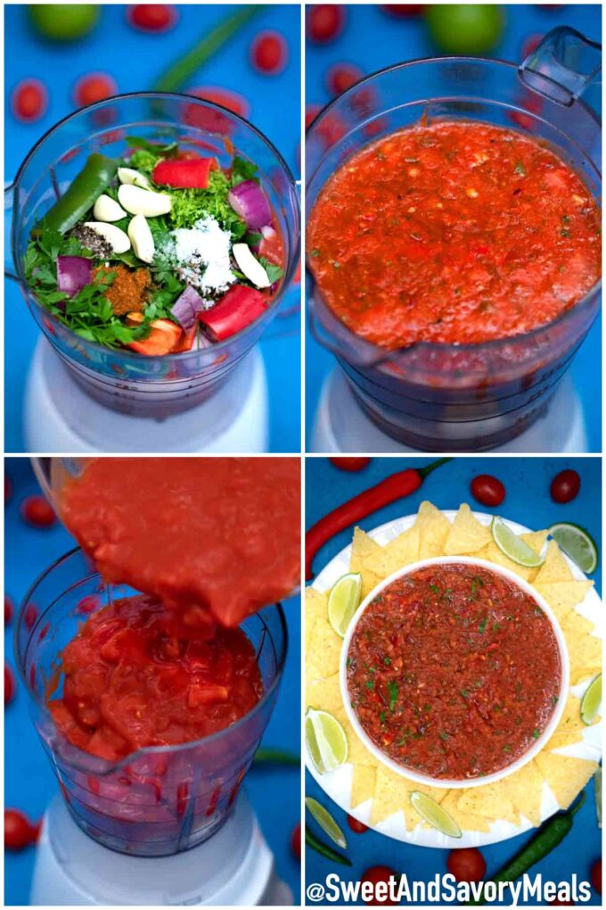 Steps how to make salsa recipe.