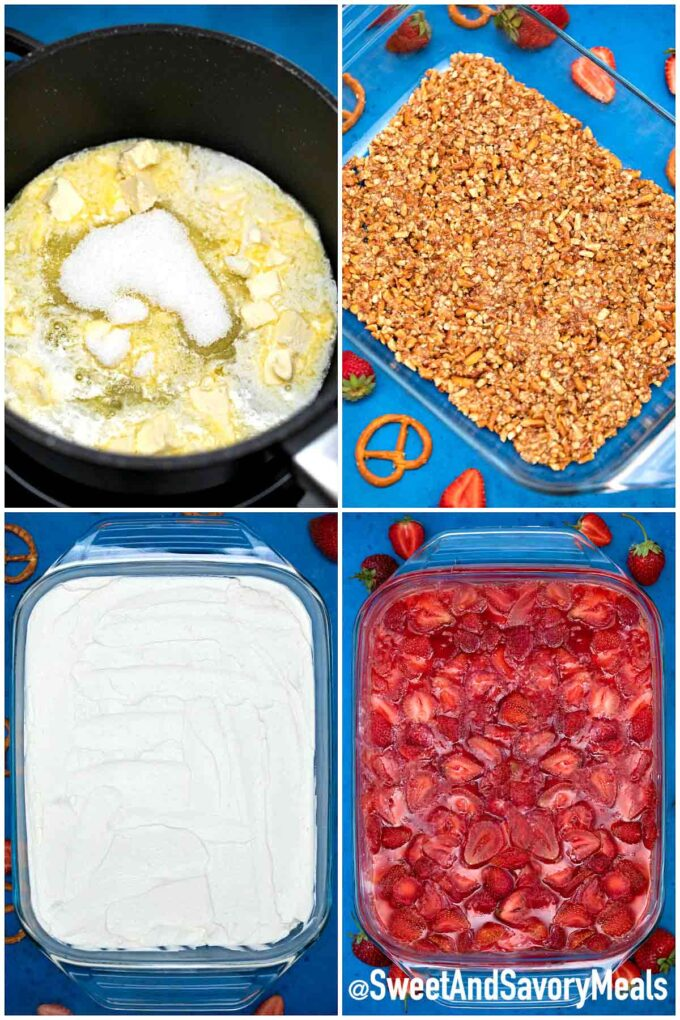 How to make strawberry pretzel salad.