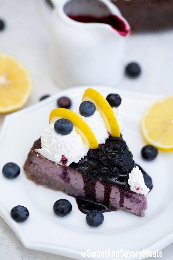 Photo of Keto blueberry cheesecake.