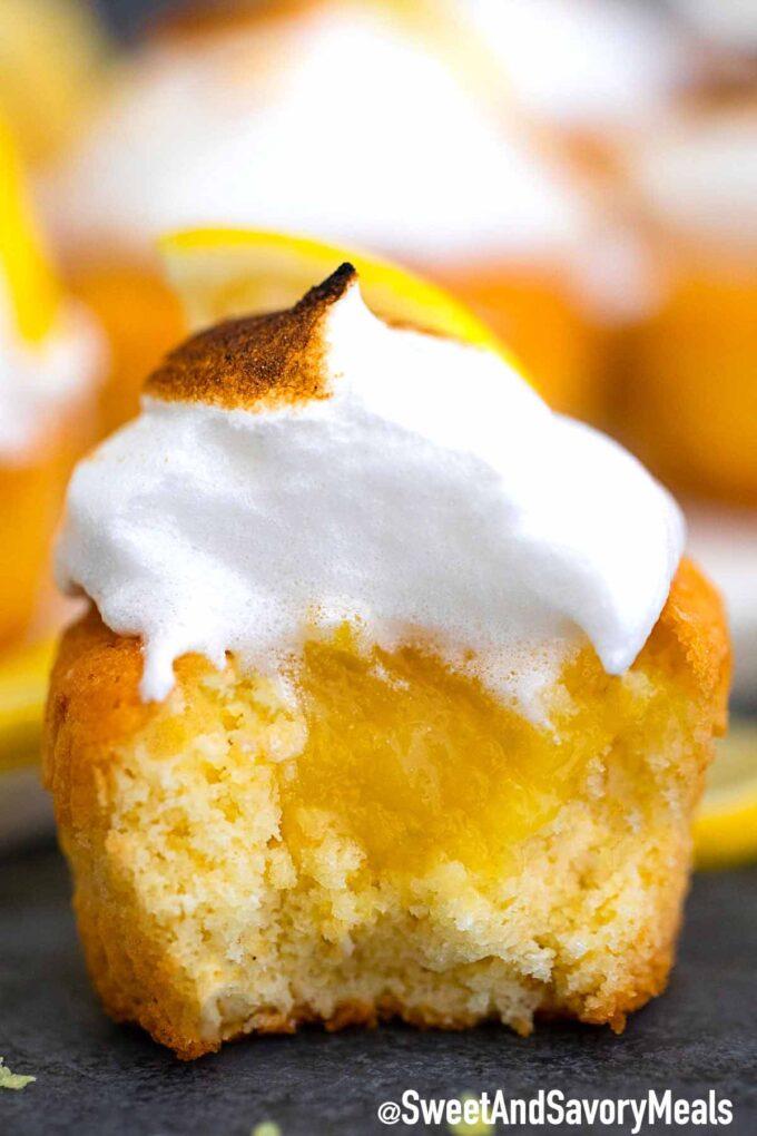 Lemon meringue cupcake with lemon curd.