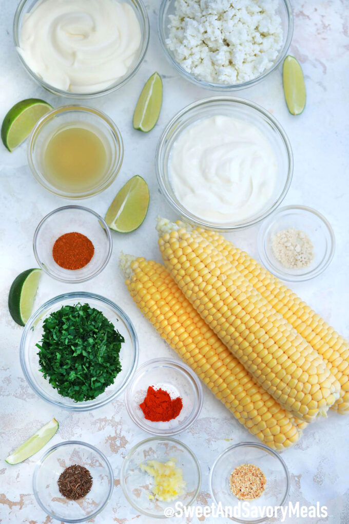 Mexican street corn ingredients.