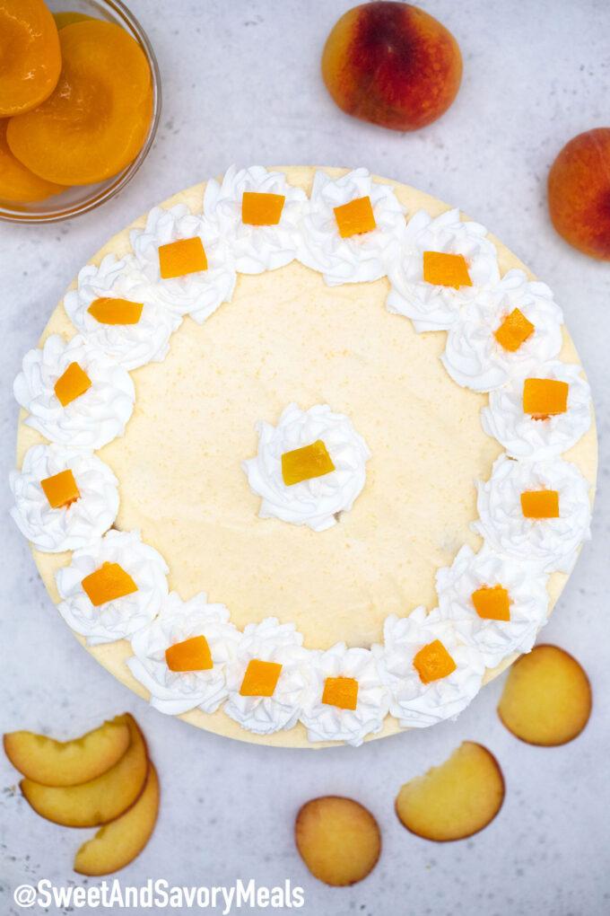 Picture of no bake peach cheesecake recipe.