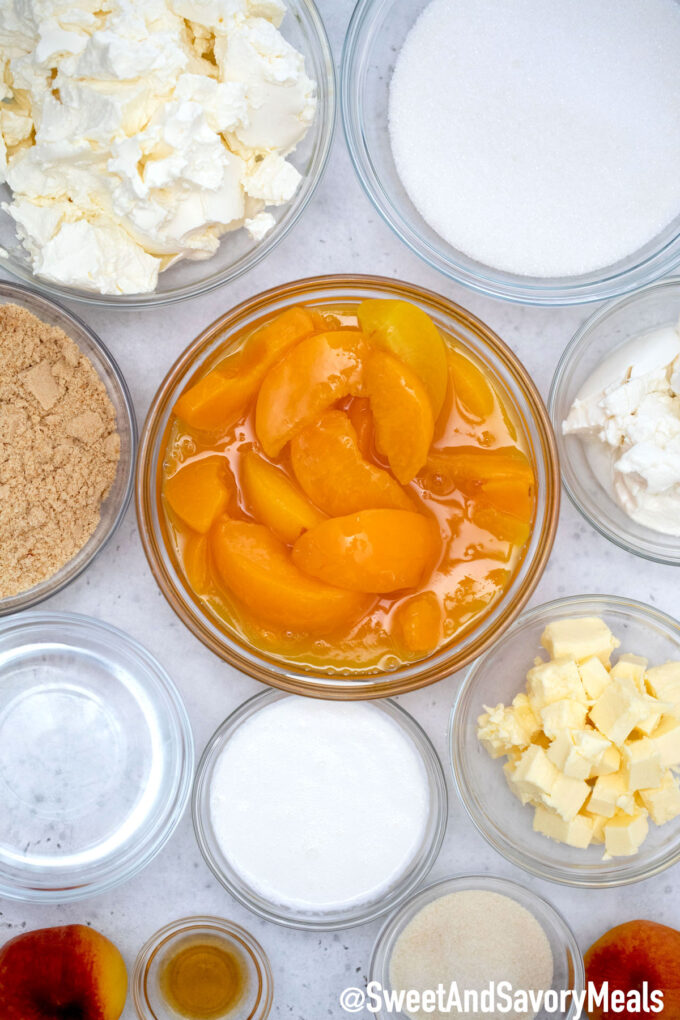 Image of no bake peach cheesecake ingredients.