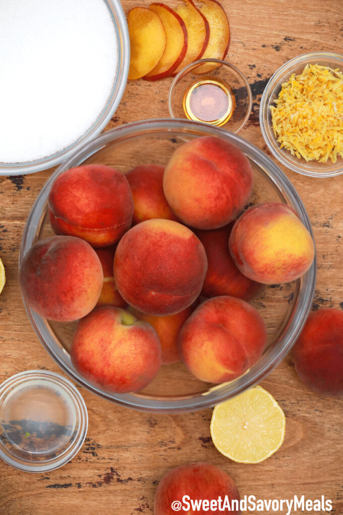 Photo of peach jam ingredients.