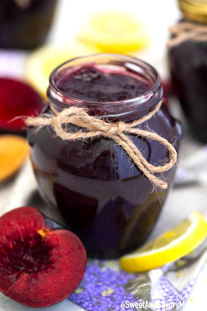 Jar of homemade plum jam.