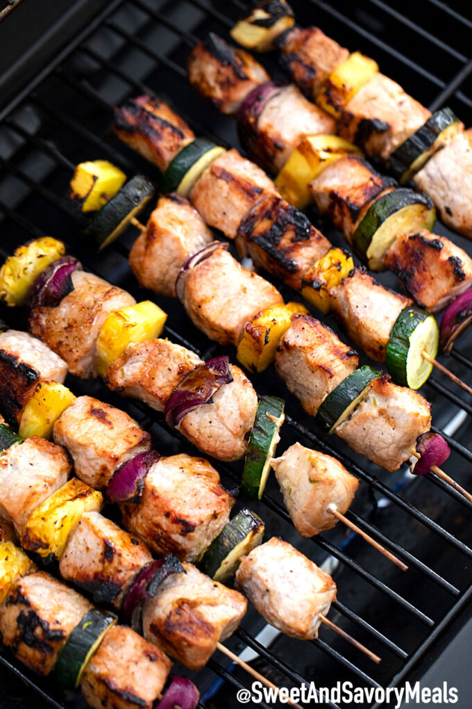 Pork kebabs on the grill.