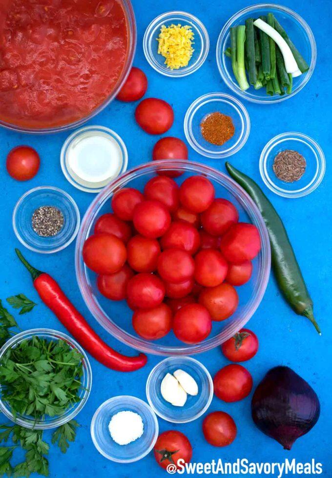 Homemade salsa ingredients.
