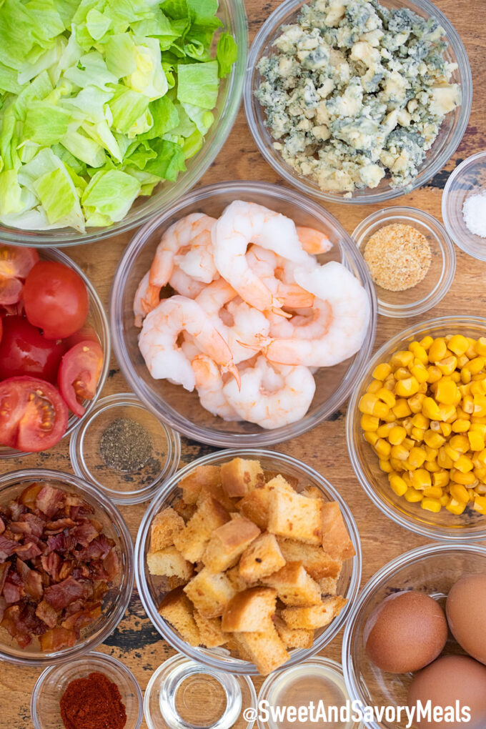 Shrimp Cobb Salad ingredients.