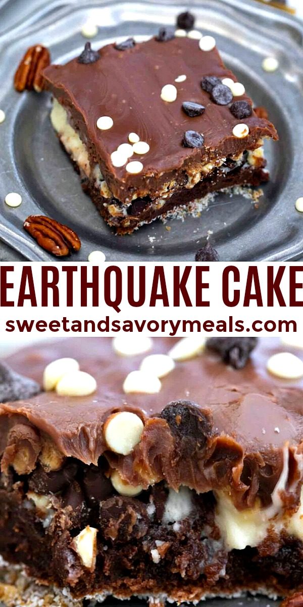 Easy Earthquake Cake made at home pin