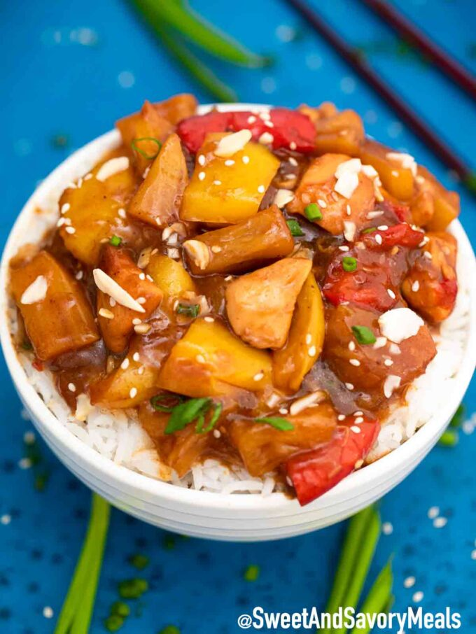 Instant Pot Hawaiian Chicken on rice