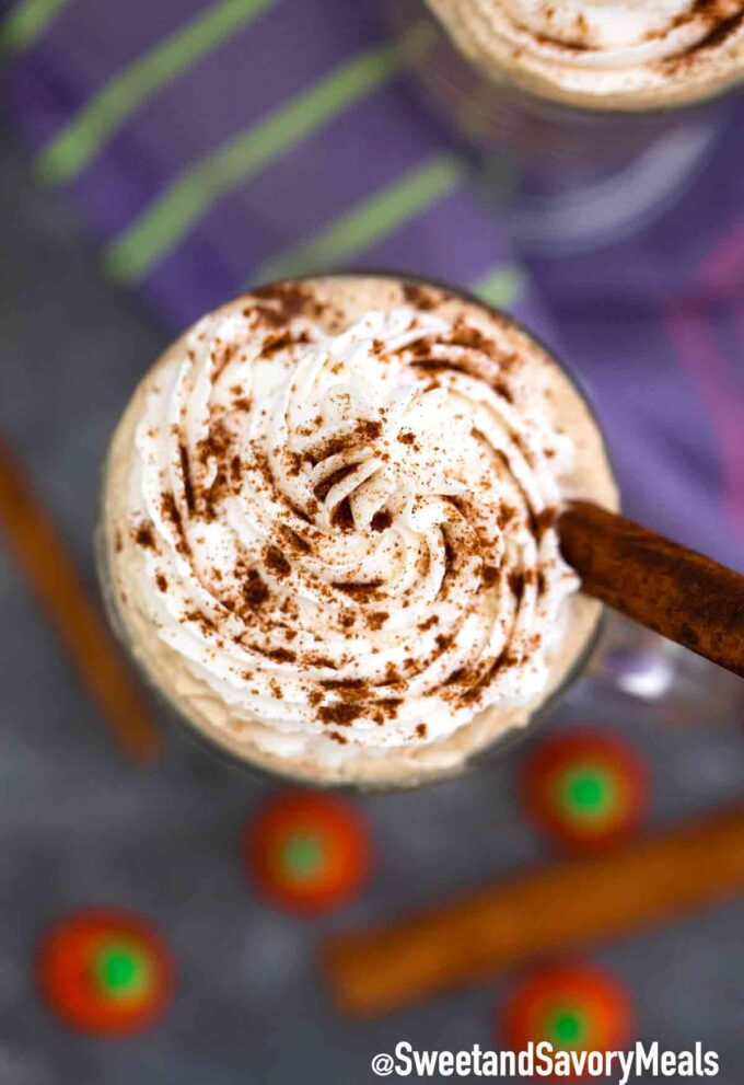 pumpkin pie latte with whipped cream